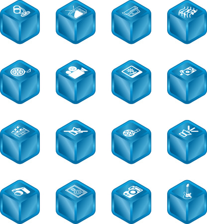 A series set of cube icons relating to various types of media. Vector
