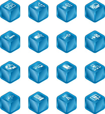 relating: A series of cube icons relating to computer networks. Illustration
