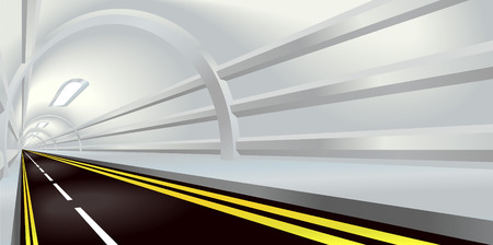 Illustration of perspective view down a road tunnel disappearing into the distance Vector