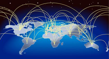 commerce: A fond la carte du monde avec des trajectoires de vol ou des routes de commerce