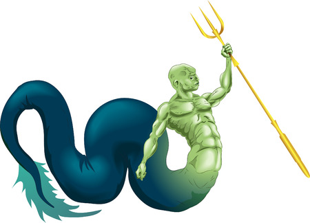 A merman type sea creature or the god Poseidon (Neptune) from classical mythology Vector