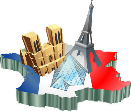 An illustration of some tourist attractions in France, signifies French tourism Vector