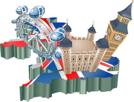 연합 왕국: An illustration of some tourist attractions in the uk, signifies United Kingdom tourism