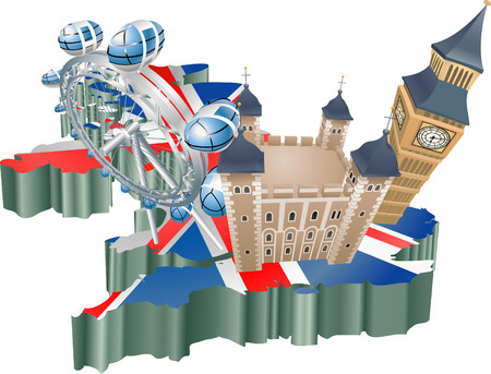 signifies: An illustration of some tourist attractions in the uk, signifies United Kingdom tourism