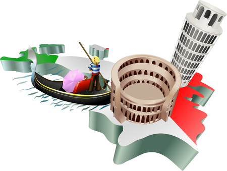 signifies: An illustration of some tourist attractions in Italy, signifies Italian tourism Illustration