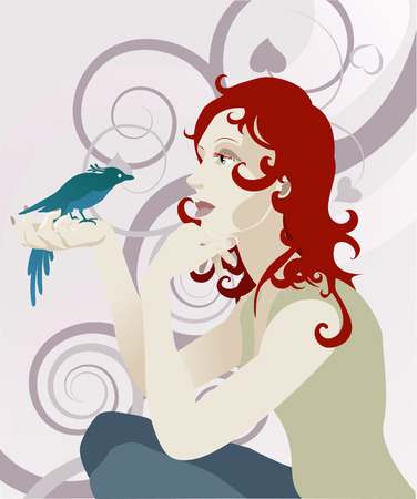 red haired woman: A beautiful red haired woman looking at a bird perched in her hand Illustration