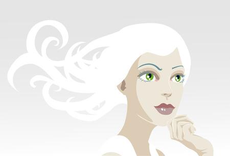 salud sexual: Una ilustraci�n vectorial de una bella, et�rea, tranquila mujer busca fuera del marco  Vectores