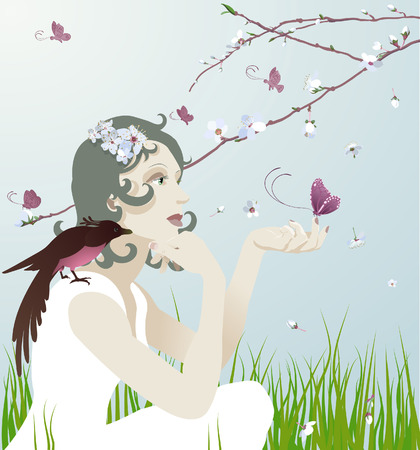 young bird: A beautiful young woman sitting under a blossoming tree with bird and butterflies