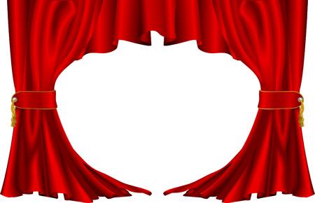 claret red: Un ejemplo de un par de rojas cortinas de teatro  Vectores
