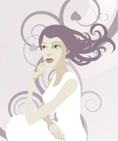 A beautiful ethereal tranquil woman with abstract background Vector