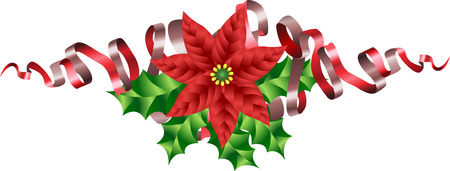christmas motif: A Christmas Poinsettia Holly and Ribbon Motif