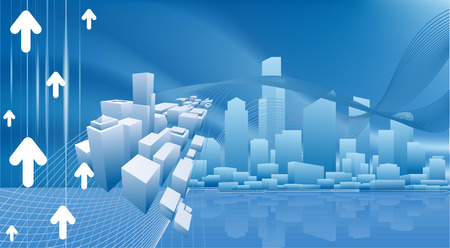 A conceptual city business background with urban cityscape Vector