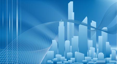 fondo luminoso: A conceptual ciudad de negocios con fondo urbano paisaje urbano