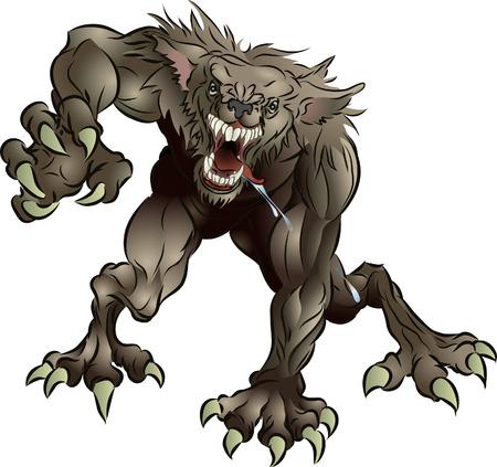 attacking: A media snarling miedo hombre lobo ataca al espectador