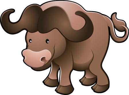 A vector illustration of a sweet African cape buffalo  Vector
