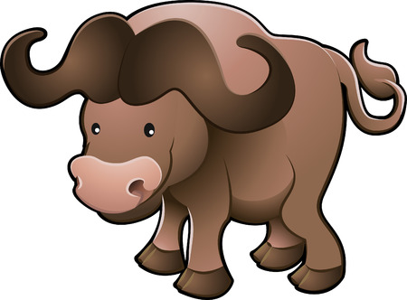 plains: A vector illustration of a sweet African cape buffalo  Illustration