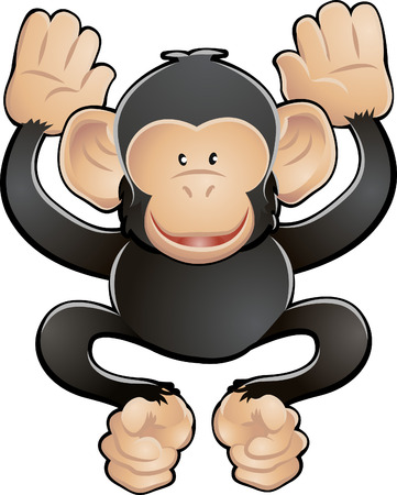 A vector illustration of a cute friendly chimpanzee  Illustration