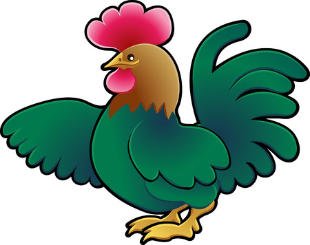 A Cute cockerel Farm Animal Vector Illustration.