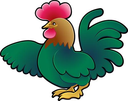 A Cute cockerel Farm Animal Vector Illustration. Stock Vector - 2909545