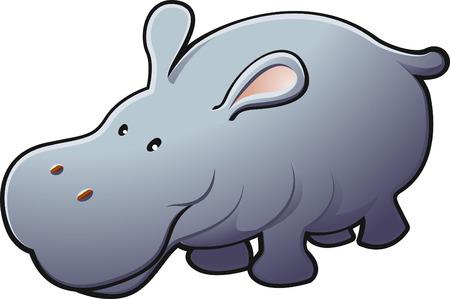 A vector illustration of a cute friendly hippopotamus   Ilustração
