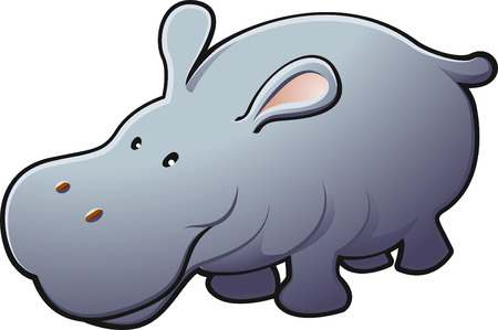 plains:   A vector illustration of a cute friendly hippopotamus   Illustration