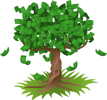 growing money: Conceptual vector illustration. Money growing on a tree, representing perhaps green environmental investments or the growth of any savings or investment.