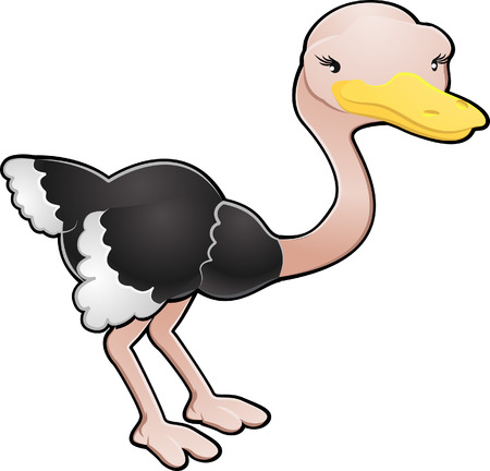 avestruz: Una caricatura ilustraci�n vectorial de un avestruz aves cute