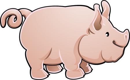 caricatura: Una granja de cerdos cute animal ilustraci�n vectorial  Vectores