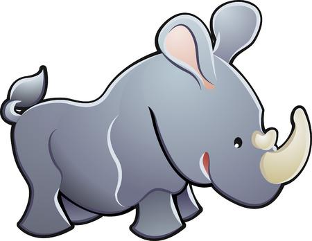 plains: A cute rhino rhinoceros vector illustration Illustration