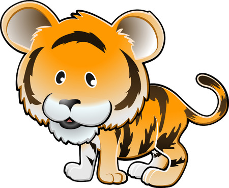 A vector illustration of a cute tiger Illustration