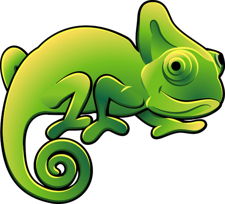 A vector illustration of a cute chameleon lizard