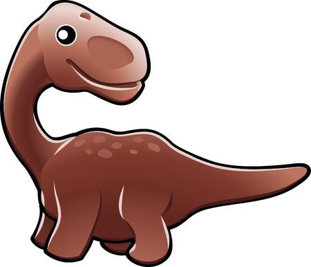 A vector illustration of a cute friendly diplodocus dinosaur
