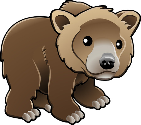 kodiak: A vector illustration of a cute grizzly,  brown  or Kodiak bear