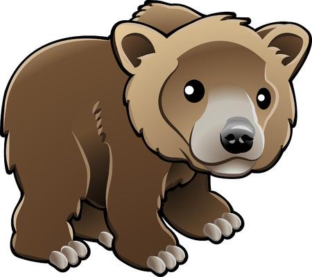 oso pardo: Una ilustraci�n vectorial de un grizzly cute, marr�n o Kodiak oso