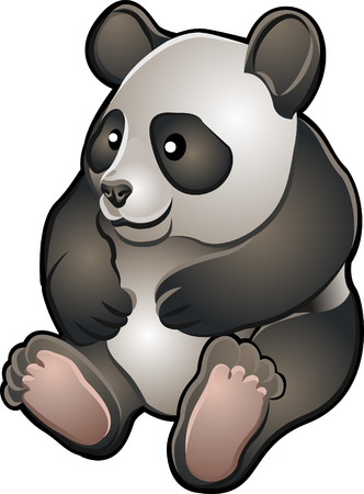 �  giant panda: Una ilustraci�n vectorial de una linda amistad oso panda gigante
