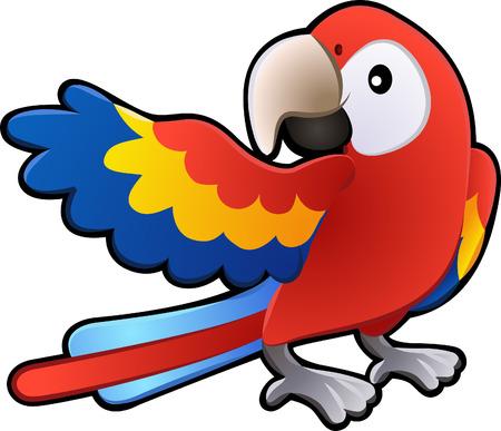żartować: A wektor ilustracją słodkie przyjazne ara Parrot