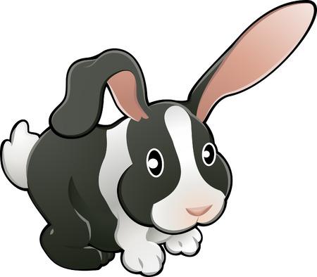 A vector illustration of a cute lovable bunny rabbit. Vector