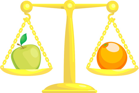 A concept vector illustration showing an apple and an orange on scales. Attempting to compare apples and oranges.  Vector