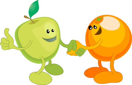 A conceptual vector illustration of an apple and orange shaking hands. Opposites attract, or different but equal, or perhaps a diverse partnership.  Vector