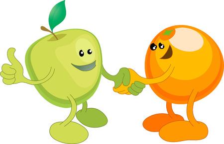 mani che si stringono: Un concettuale illustrazione vettoriale di una mela e arancio stringe la mano. Opposti attirare, o diversi, ma uguali, o forse un ampio partenariato.  Vettoriali