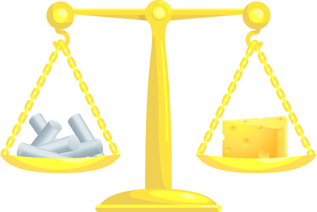 incompatible:    A concept vector illustration showing chalk and cheese on scales. Attempting to compare or balance chalk and cheese. Balancing conflicting priorities.  Illustration