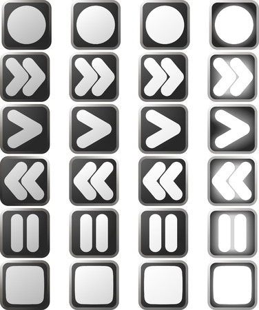 A set of white control panel button icons in various rollover state versions   Vector