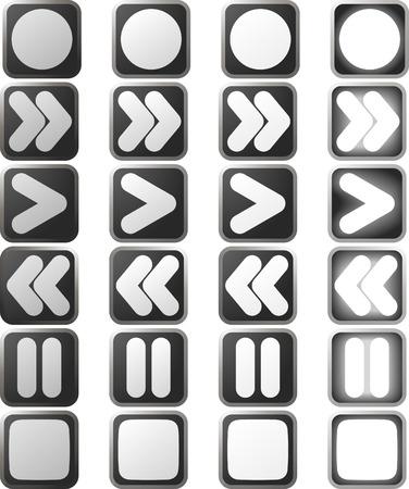 control panel: Un insieme di bianco pulsante sul pannello di controllo icone in varie versioni del cambio di stato