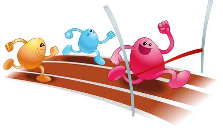 beanies: Algunos beanies tener una carrera de pie! Roja a punto de cruzar la l�nea de llegada!