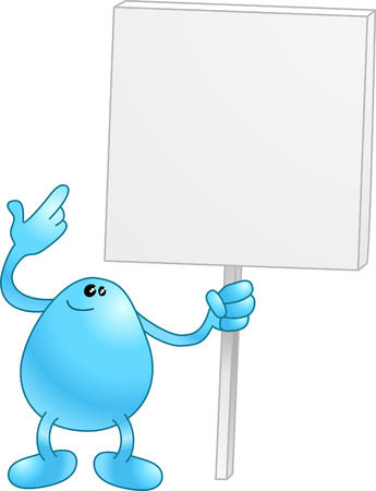Blue wants you to look at his sign. Look at it!  Vector