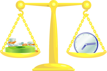Conceptual vector illustration. Work life balance or balancing time and money.  Vector