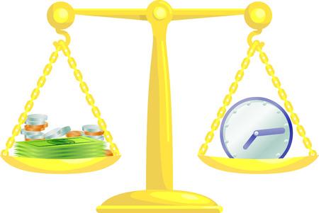 balancing:  Conceptual vector illustration. Work life balance or balancing time and money.  Illustration