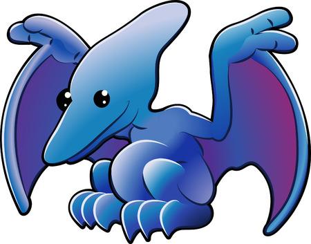 quetzalcoatl: A vector illustration of a cute friendly dinosaur pterodactyl or pteranodon