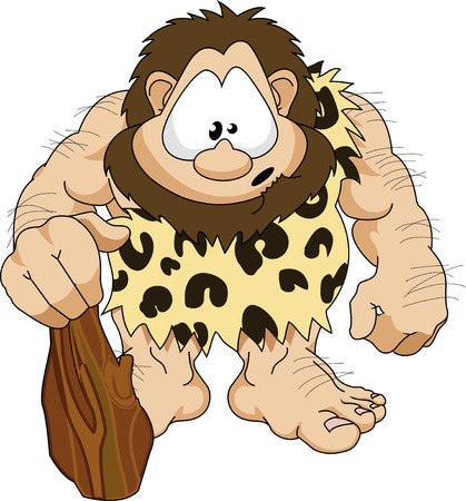 An illustration of a cute hairy caveman with a club Vector