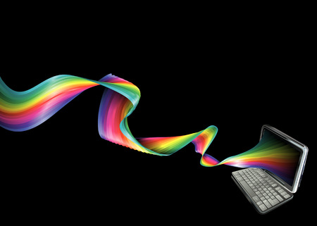 A background banner illustration of a laptop with magical rainbow streaming out of it Stock Vector - 3394435